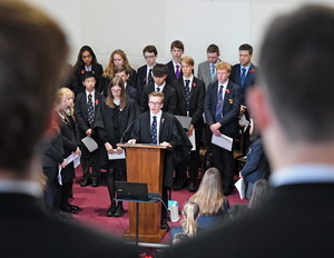 Head Boy talking at Senior School Remembrance Service