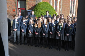 Pupils observing silence at Senior School Remembrance Service