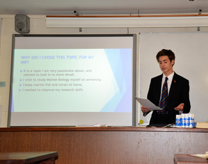 Sixth form boy presenting his irp