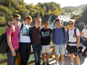 College swimmers in national park in croatia