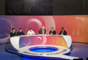 Sixth Form students and David Dimbleby on set