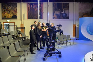 Sixth Form students with camera crew on Question Time