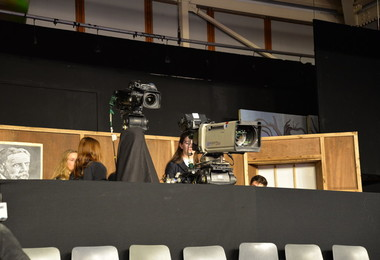 Students learn about cameras on Question Time set
