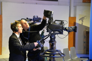 Students film on Question Time technical tour
