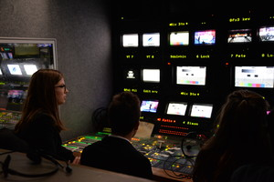 Students in Question Time van on Technical Tour