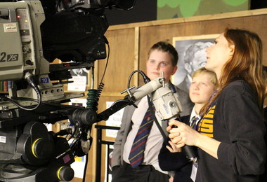Prep School pupils learn to use camera on Question Time
