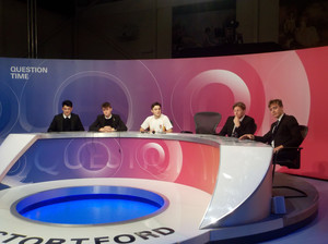 Sixth Form Students sitting on Question Time panel