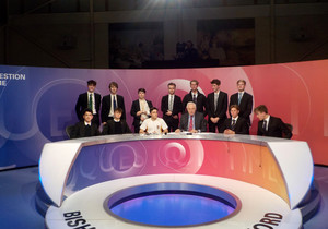 Students with David Dimbeby on Question Time panel set
