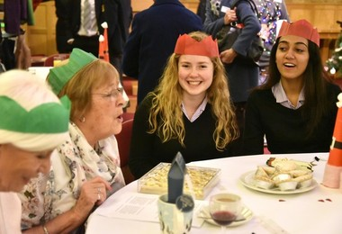 Santa Claus Comes to Town for Senior Citizens' Lunch