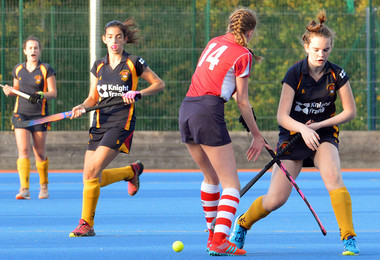 Senior School girls' hockey with Knight Frank logo