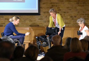 Claire Lomas demonstrating robotic suit at Festival of Literature