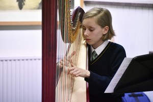 Harpist in 4th Form Recital 2019
