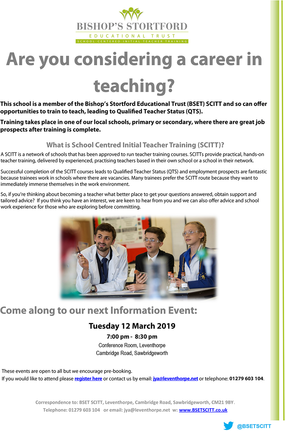 Teacher training information event flyer 2019 small