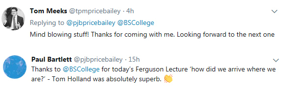 Tom holland feedback tweets after ferguson lecture