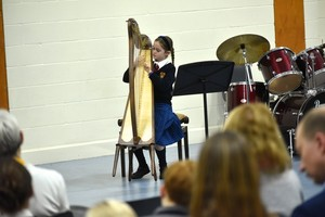 Form 1 on harp in Form 1 Concert Feb 19