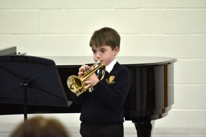 Prep School Trumpeter playing in Form 1 Concert Feb 19
