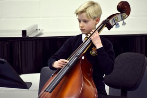 Prep School cellist performing in Form 1 Concert Feb 19