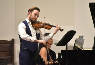 Alex Redington on violin in Vela Ensemble