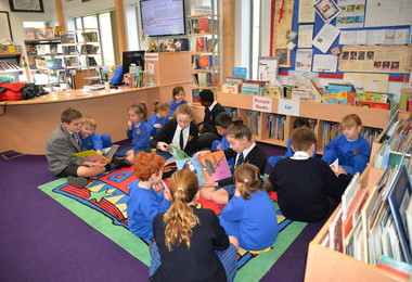 Prep School Library with L3 and PP on World Book Day
