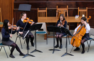Strings playing in United Reformed Church Recital