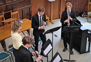 Senior school clarinet ensemble in united reformed church