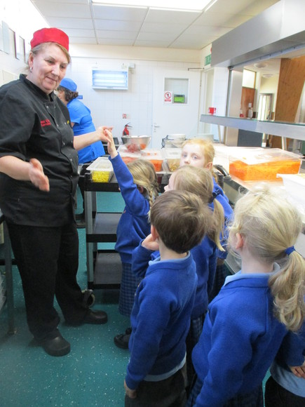 Reception pupils enjoy kitchen tour with Gary