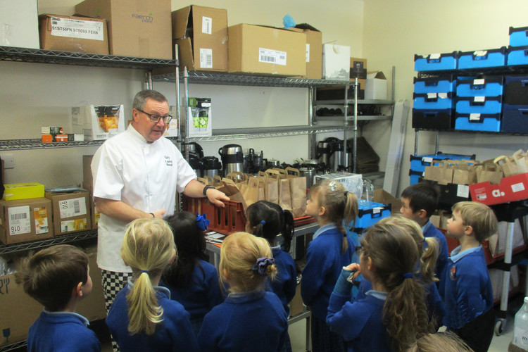 Pre-Prep Reception on tour of kitchens with Gary