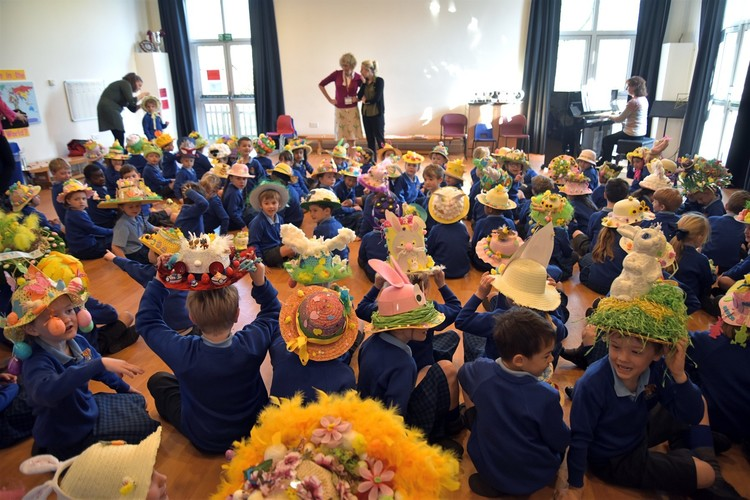 Pre-Prep assembly with Easter Bonnets 2019