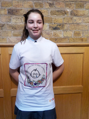 L5 pupil modelling t shirt design in HE & Careers Challenge