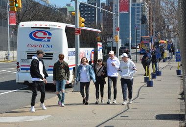 Art Students walking in NY on Easter Trip 2019