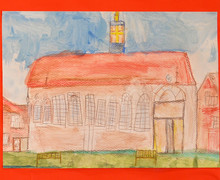Year 2 drawing of mem hall to mark 150th anniversary copy