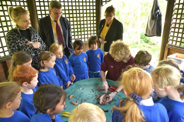 Mrs Prowse dissecting fish in front of Reception forest school