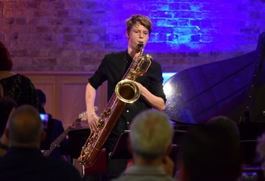Saxophonist playing at Senior School Band Night 2019