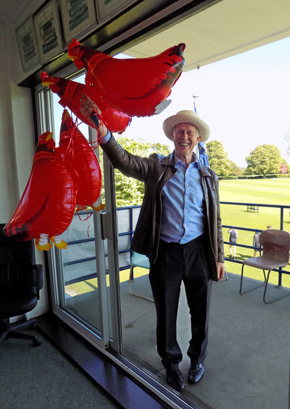 Chris woodhouse with chicken balloons