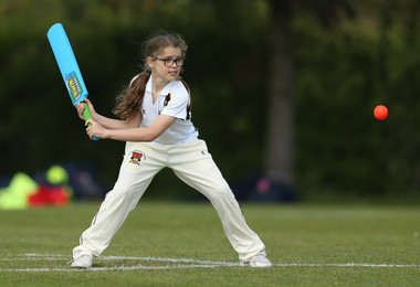 U11 girls play cricket match May 2019