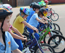 Year 2 cyclists lined up on bikeability day