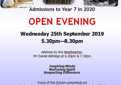 2020 Admissions Open Evening