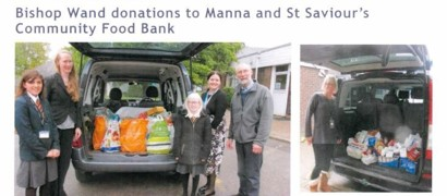 Bishop Wand donations to Manna and St Saviour's Community Food Bank