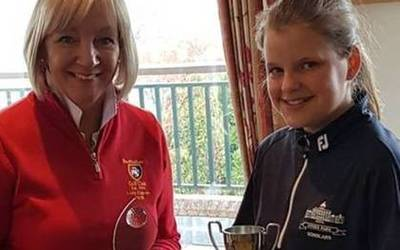 Jessica wins the English Schools Girls Buckinghamshire 2019 title (gross 76)