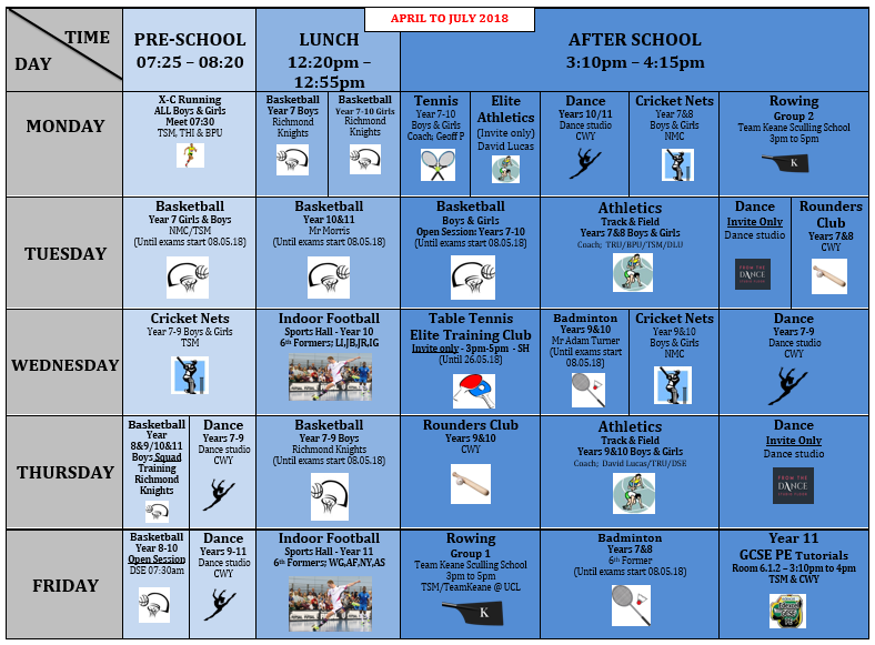 Extra curricular summer term 2018
