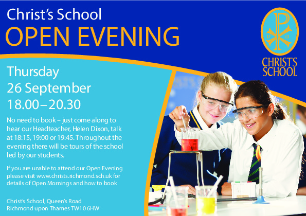 Christs School Open Evening Invite 2019