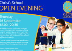 Open Evening is on Thursday 26 September from 18:00 - 20:30