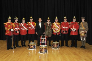 President of the Old Colcestrian Society with drummers of Essex Army Cadet Force at the Society annual dinner 2014