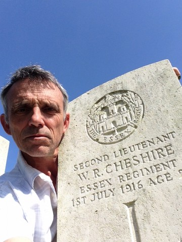 Marcus Harrington OC visited the grave at Knightsbridge Cemetery, Albert, France, of William Cheshire OC who was Killed in Action on the first day of the Somme, 1st July 1916. William Cheshire was Marcus's grandmother's cousin.