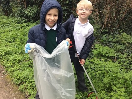 Children clear community's litter