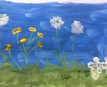 Dandelion puffs and grass daisies 3