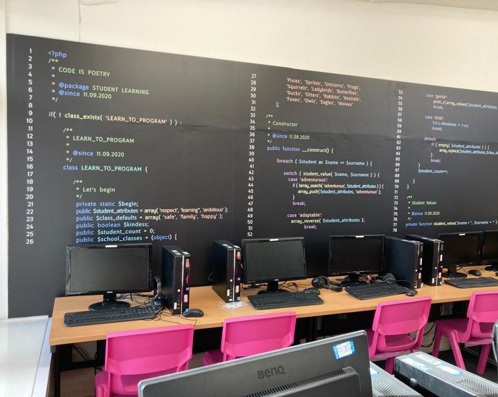Wall of Code for ICT room