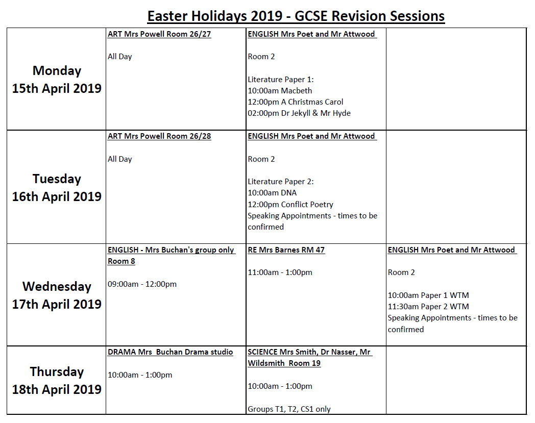 Easter holiday revision sessions 15th 18th april 2019