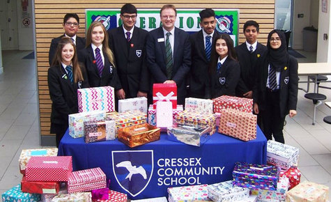 Shoeboxes stuffed full of presents for children ready for despatch. Great job Cressex.