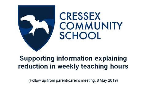 Supporting information explaining reduction in weekly teaching hours